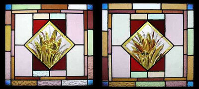 Painted Spring Flowers Antique English Pair Stained Glass Windows