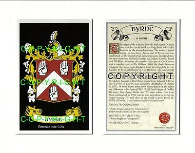 BYRNE Family Heraldic Mounted Coat of Arms Crest + History