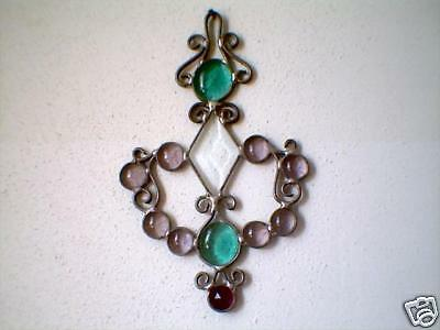 Stained glass turquoise & lavender filagree suncatcher