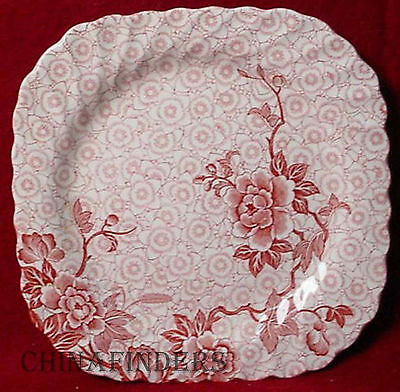 JOHNSON BROTHERS china LOTUS red/pink SQUARE SALAD