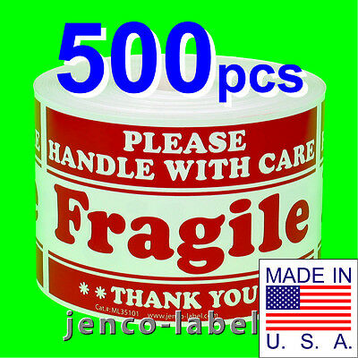 ML35101, 500 3x5 Handle With Care Fragile Labels/Sticker