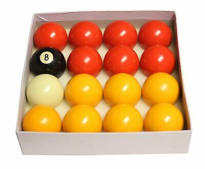 """REDS /& YELLOWS 2/"""" POOL BALLS WITH BALL TRAY STANDARD SIZE"""