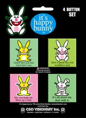Happy Bunny Popular Phrases Carded 4 Button Set #1 NEW UNUSED