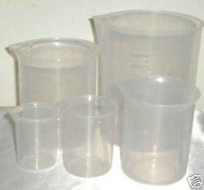 Set of 5 plastic beaker graduated  measuring cup 50/100/250/500/1000 ml New