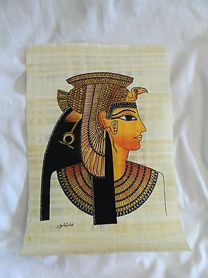 Egyptian Papyrus Paper Painting Queen Cleopatra 9X13""