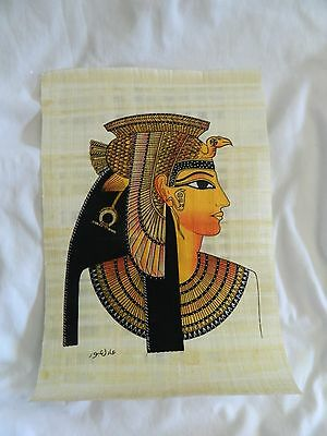 """Egyptian Papyrus Paper Painting Queen Cleopatra Handmade 9"""" X13"""""""