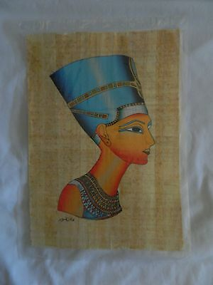 "Egyptian Papyrus Paper Painting Queen Nefertiti Handmade 9"" X13"""