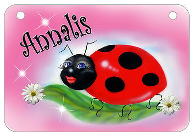 "Ladybug Bicycle License Plate Personalize Text Colors 2.75"" x 4.5"" Girl Ladies"