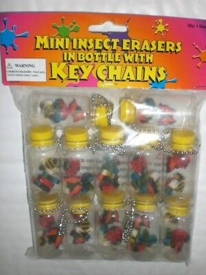 Mini Insect Erasers Bottle With Key Chain 12Count