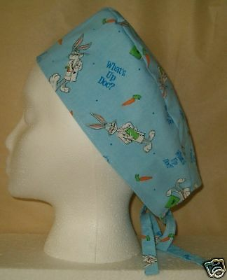 Surgical Scrub Hat Cap Made With Bugs Bunny Fabric What's Up Doc Nurse ER Chemo