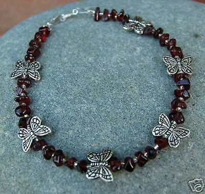Garnet Nugget and Tibetan Silver Butterfly Anklet- Beautiful