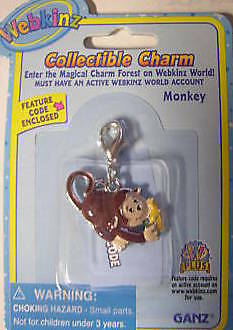 Webkinz Monkey Collectible Charm VHTF NEW WITH CODE