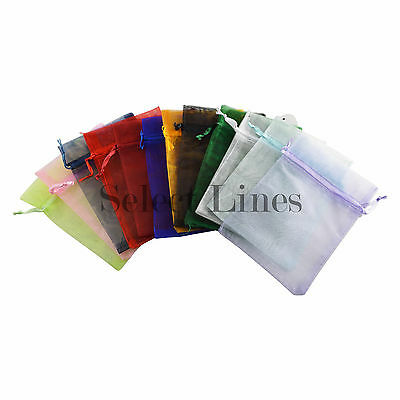 "12pc Organza Mixed Colors Jewelry Pouch Pouches 4"" x 5"""