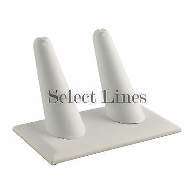 White Faux Leather 2 Finger Ring Stand Jewelry Display