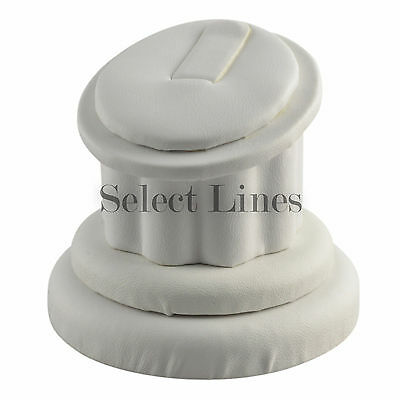 White Faux Leather Ring Column Stand Jewelry Display !!