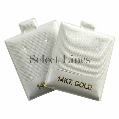100 14KT Gold White Leather Puff Earring Pads Cards