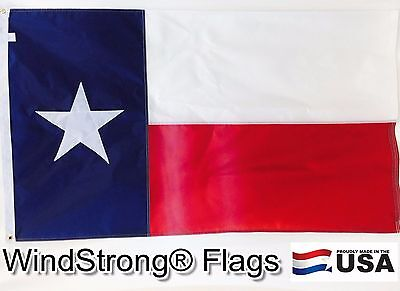 5x8 FT WINDSTRONG  DELUXE SOLARMAX NYLON TEXAS FLAG MADE IN THE USA FULLY SEWN