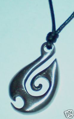 Maori Spear Pewter Metal Pendant On Black Cord Necklace
