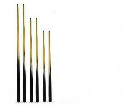 6 x NEW ASSORTED SIZE POOL CUES. 57, 48 AND 36 INCH