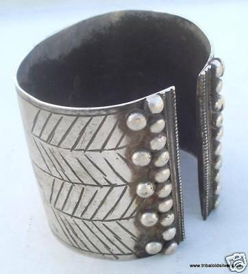 Ancient Antique Ethnic Tribal Old Silver Cuff Bracelet Bangle Rajasthan India