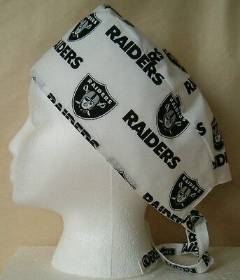 Surgical Scrub Hat Cap Made with Oakland Raiders NFL Fabric Nurse Chemo ER  Skull 2bfba91c7ca2