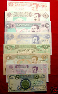 Lot Of 8 Bank Notes From Iraq Uncirculated Set - All Different - L@@K