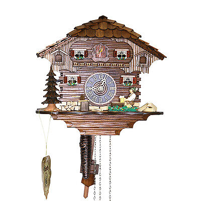 "Genuine 10"" Black Forest Cuckoo Clock 1 Day Chalet 14-10"