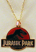 Jurassic Park Red Logo Metal Pendant with Chain