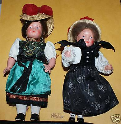 2 RARE ADORABLE CELLULOID GERMAN DOLLS DRESSED SMALL