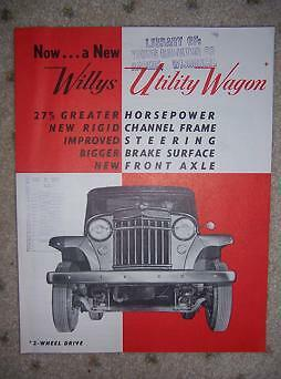 1950 s Willys Utility Wagon Car Promo 2 WD Jeep Steel h