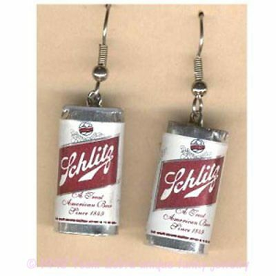 Funky SCHLITZ BEER CAN EARRINGS Mardi Gras Bar Drink Party Charm Costume Jewelry