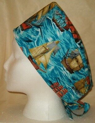 Surgical Scrub Hat Cap Made W Sailboats Ships Fabric