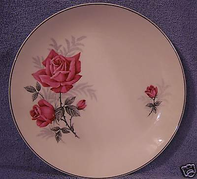 J & G Meakin Lot of 4 Plates  England Pink Rose w/Grey Plates 9""