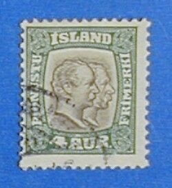 1907 ICELAND 4A OFFICIAL STAMP SCOTT#O32 MICHEL#25 USED