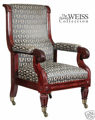 SWC-Mahogany Neoclassical Armchair, Boston, c1830