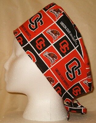 Surgical Scrub Hat Cap Made w Oregon State University Fabric Nurse Skull Chemo
