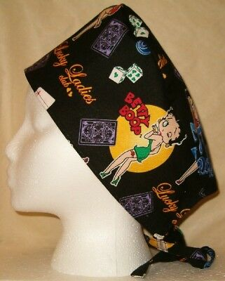Surgical Scrub Hat Cap Made w Betty Boop Lucky Lady Fabric Nurse Chemo Doctor ER
