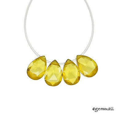 8 Cubic Zirconia Flat Pear Briolette Beads 6x9mm Citrine Yellow #64082