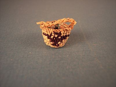 Miniature Makah Indian Twined Pictorial Basket with Handle