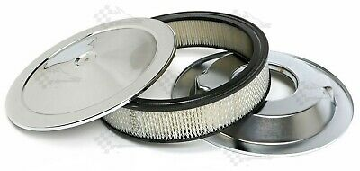 "14"" x 3"" Chrome Air Cleaner /  Filter With Recessed Base - Holley, Edelbrock"