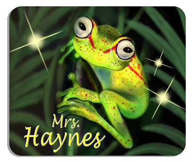 Green Frog Mouse Pad Personalize Gifts Any Name Or Text In Any Color Frogs