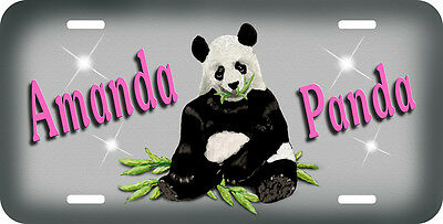 Panda Bear License Plate Personalize Any Text Name Any Colors Gray Background