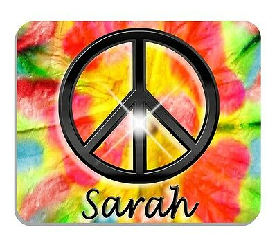 Peace Sign Tie Dye Mouse pad personalize Any Name Or Text Reds Yellows Greens