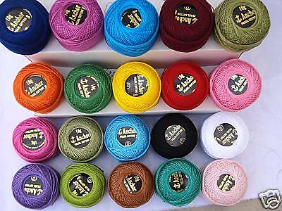 20 ANCHOR Pearl Cotton Balls. Size 8  (85 Meters each), 20 Different Colours