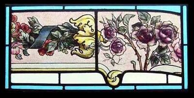 Beautiful Painted Floral Victorian Antique English Stained Glass Window