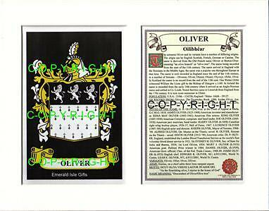 Oliver Heraldic Mount Coat Arms Crest +  Family History
