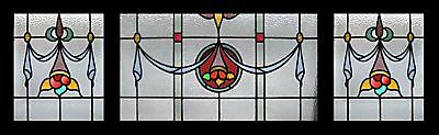 Huge Edwardian Set Of 3 English Antique Stained Glass Windows