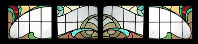 Set Of 4 Art Nouveau English Antique Stained Glass Windows Rare