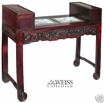 SWC-Carved Rosewood Desk w Porcelain Inserts, China