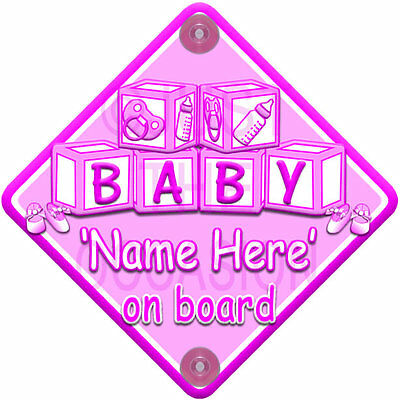 NEW Pink for  GIRL BABY BLOCKS  Personalised Baby on board car window sign